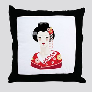Japan Geisha Throw Pillow