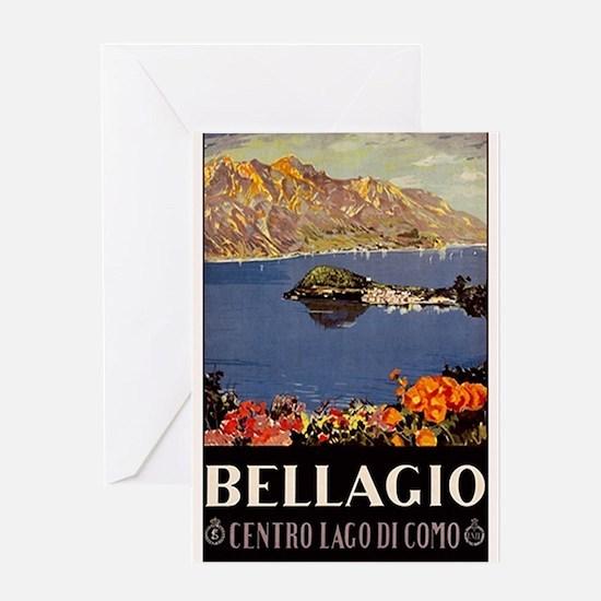Vintage Bellagio Travel Poster Greeting Cards