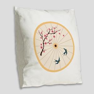 Oriental Umbrella Burlap Throw Pillow