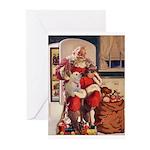 Classic Santa And Bichon Greeting Cards (pk Of 10)
