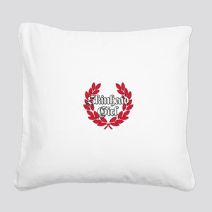 Skinhead Girl Red Square Canvas Pillow