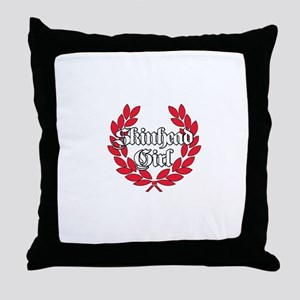 Skinhead Girl Red Throw Pillow