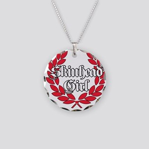 Skinhead Girl Red Necklace Circle Charm