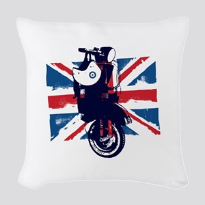 Union Jack Scooter Woven Throw Pillow