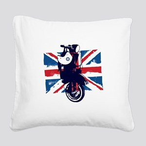 Union Jack Scooter Square Canvas Pillow