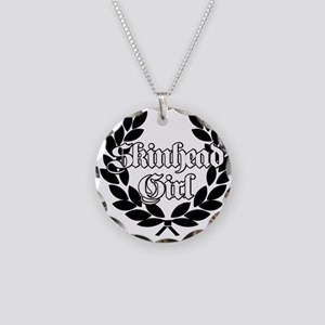 Skinhead Girl Black Necklace Circle Charm