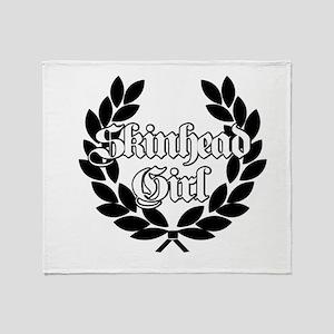 Skinhead Girl Black Throw Blanket