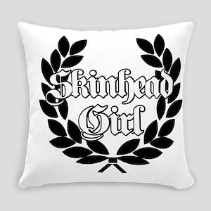 Skinhead Girl Black Everyday Pillow