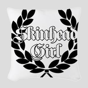 Skinhead Girl Black Woven Throw Pillow