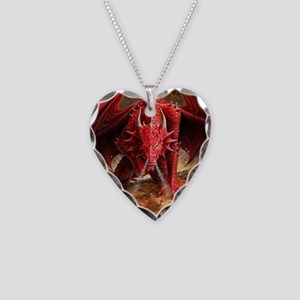 Angry Red Dragon Necklace Heart Charm