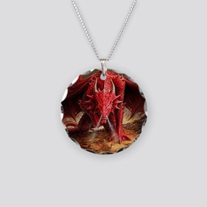 Angry Red Dragon Necklace Circle Charm
