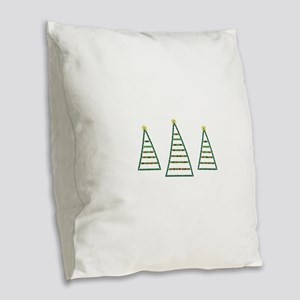 Three Christmas Trees Burlap Throw Pillow