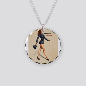 Pinup Flight Attendant Necklace Circle Charm