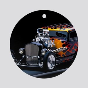 Hot Rod Round Ornament