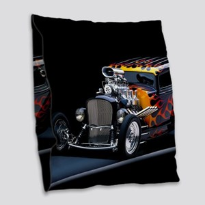 Hot Rod Burlap Throw Pillow