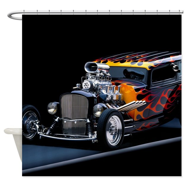 Hot Rod Shower Curtain by WickedDesigns4