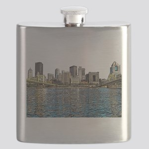 Pittsburgh City Sketch 4x6 Flask