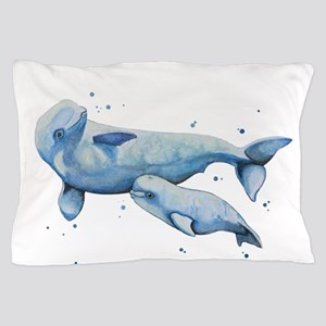Beluga Whale and Baby Pillow Case
