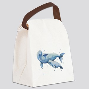 Beluga Whale and Baby Canvas Lunch Bag