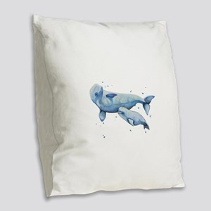 Beluga Whale and Baby Burlap Throw Pillow