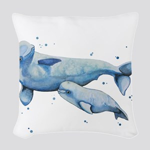 Beluga Whale and Baby Woven Throw Pillow