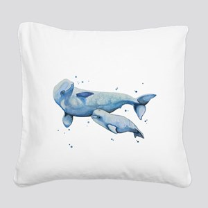 Beluga Whale and Baby Square Canvas Pillow