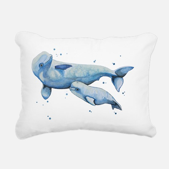 Beluga Whale and Baby Rectangular Canvas Pillow