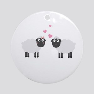 Sheeps in love Round Ornament