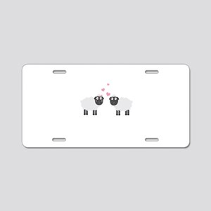 Sheeps in love Aluminum License Plate