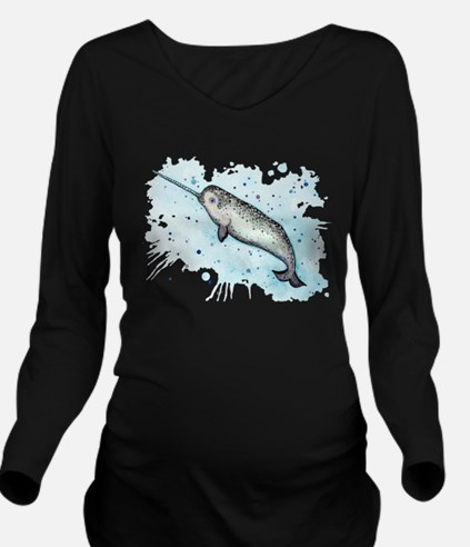Narwhal Long Sleeve Maternity T-Shirt