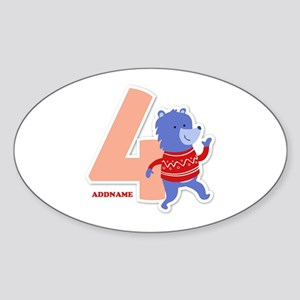 4th Birthday Personalized Name Sticker (Oval)