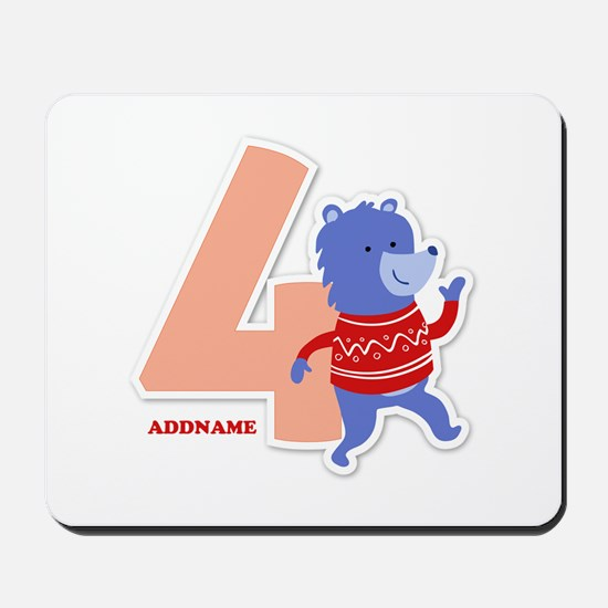 4th Birthday Personalized Name Mousepad