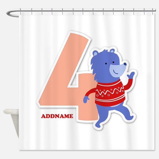 4th Birthday Personalized Name Shower Curtain