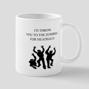 Zombie meat joke on gifts and t-shirts. Mugs