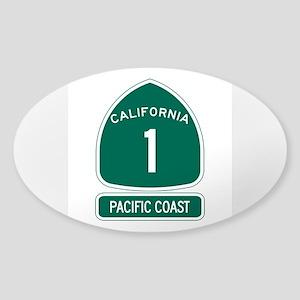 California 1 Pacific Coast Sticker (Oval)