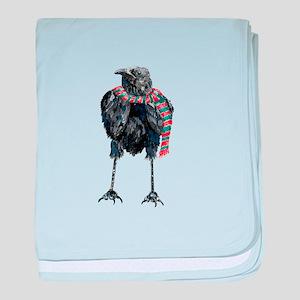 Black Winter Crow baby blanket
