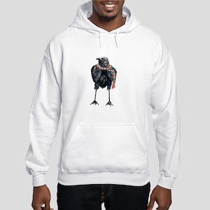 Black Winter Crow Hooded Sweatshirt