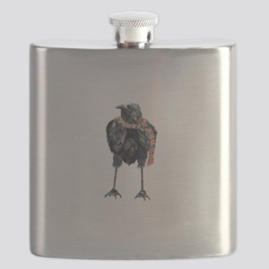 Black Winter Crow Flask