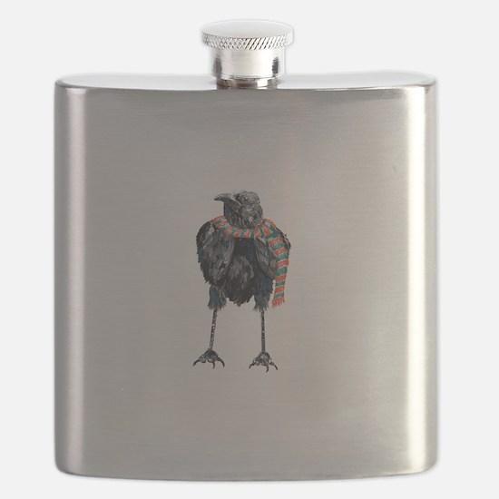 Black Winter Crow Flask