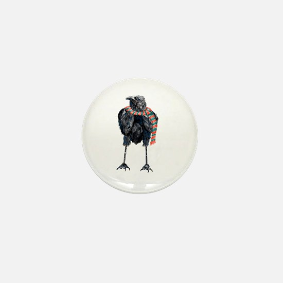 Black Winter Crow Mini Button