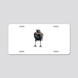 Black Winter Crow Aluminum License Plate