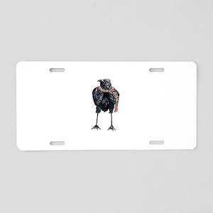 Black Winter Crow Aluminum License Plate
