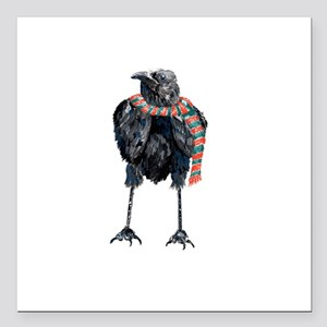 "Black Winter Crow Square Car Magnet 3"" x 3"""