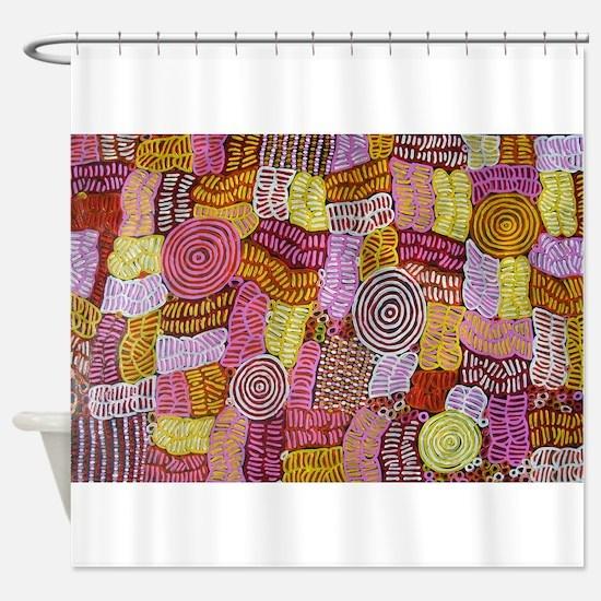 AUSTRALIAN ART CIRCLES AND LINES Shower Curtain