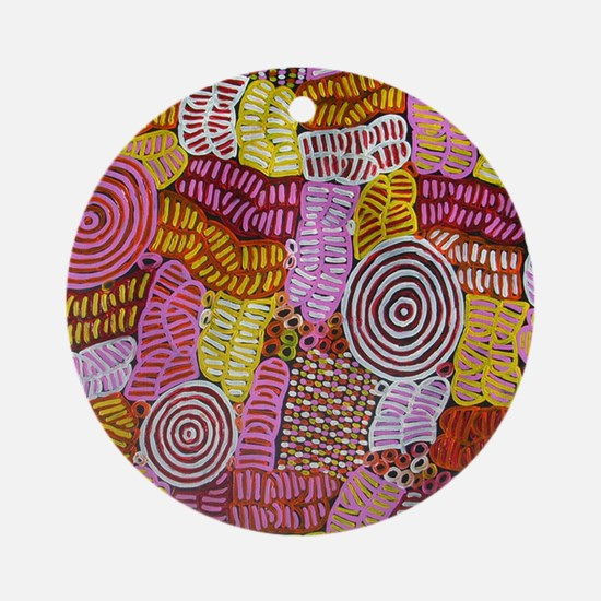 AUSTRALIAN ART CIRCLES AND LINES Round Ornament