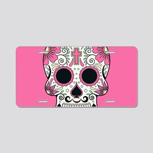 Sugar Skull Aluminum License Plate