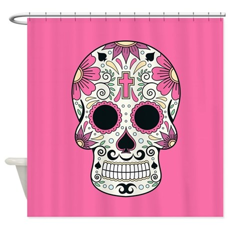 sugar skull shower curtain by fuzzychair. Black Bedroom Furniture Sets. Home Design Ideas