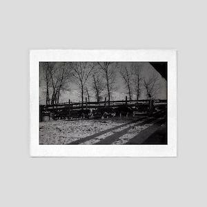 old snow farm scene 5'x7'Area Rug