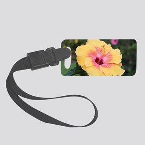 Pink yellow hibiscus flower Small Luggage Tag