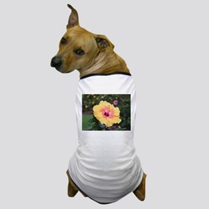 Pink yellow hibiscus flower Dog T-Shirt